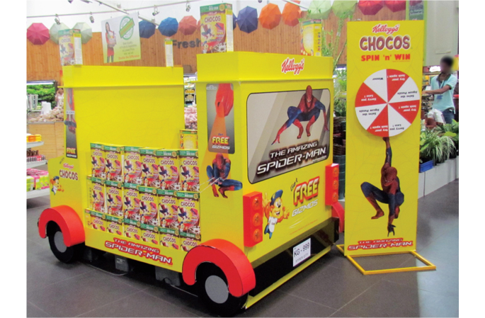 Spiderman And Chocos POP Take Kids Back To School Point Of Inspiration Kellogg's Cereal Display Stand