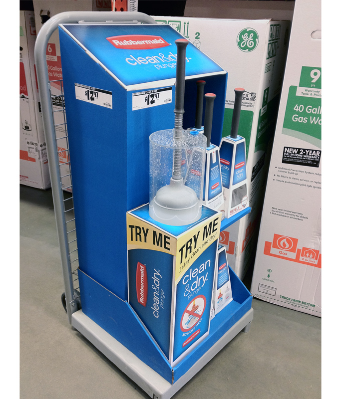 Rubbermaid Clean And Dry Plunger Display