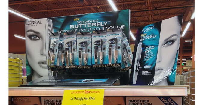 L'Oreal Butterfly Mascara Shelf Display