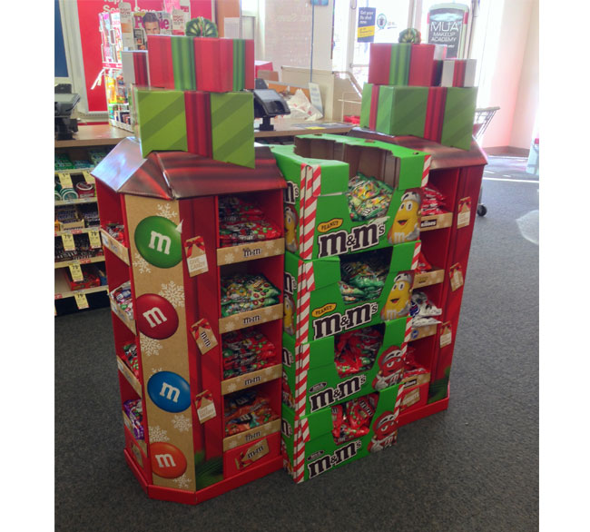 M & M Holiday Candy Gift Box Display