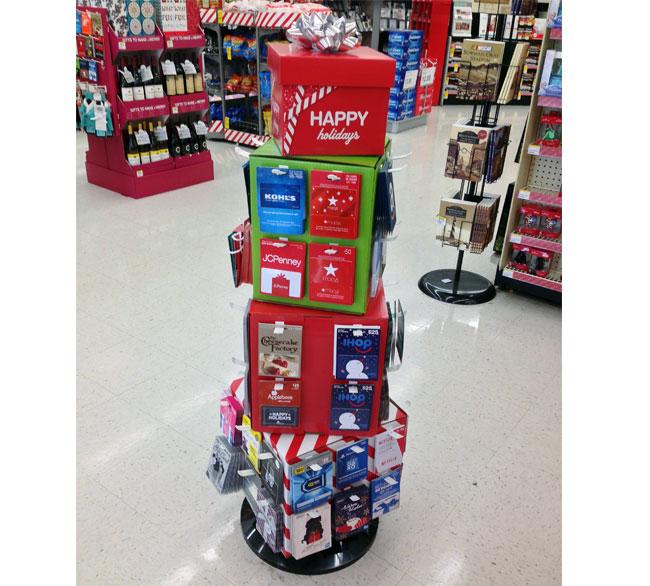 Happy Holidays Gift Card Floor Display