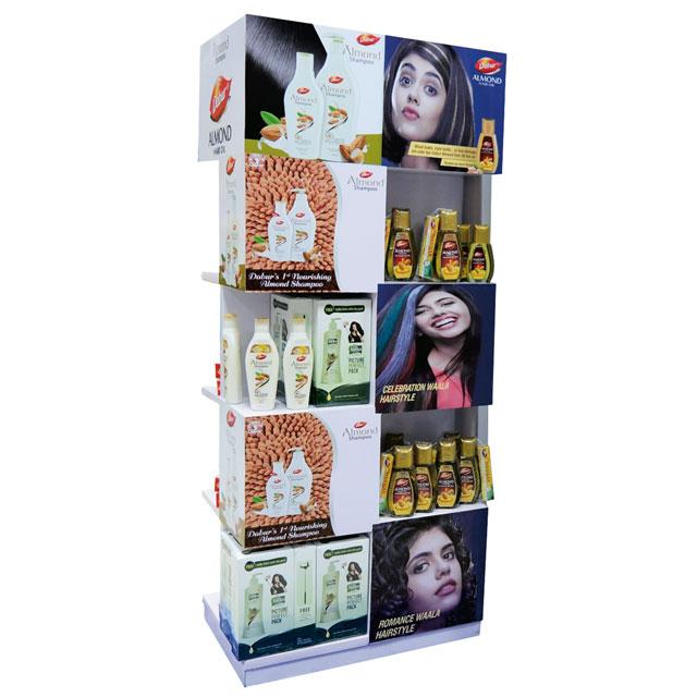 Almond Hair Oil and Shampoo Display