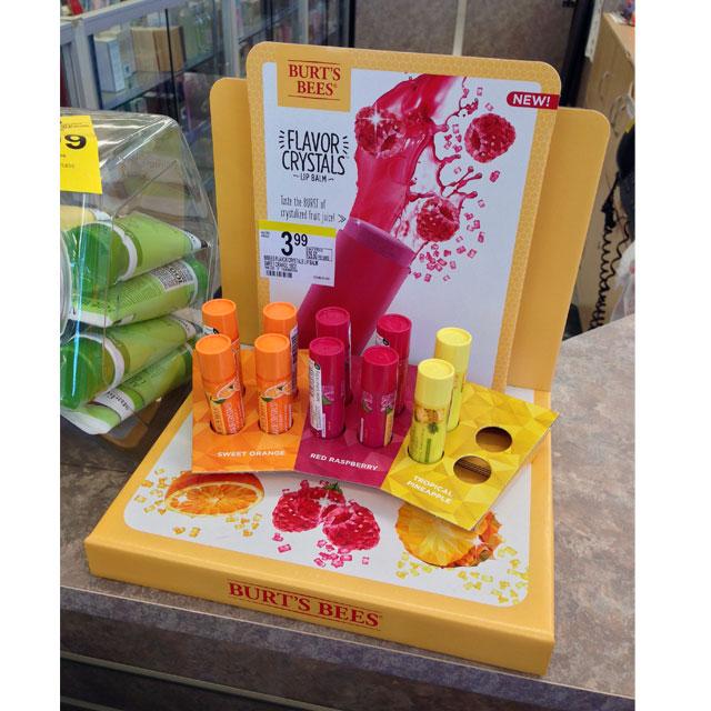 Burt's Bees Flavor Crystals Counter Display