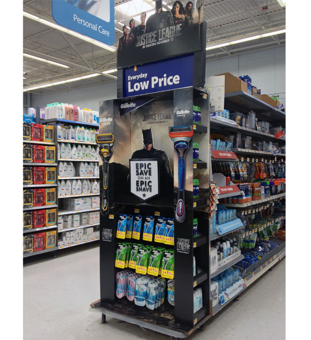 Gillette and Justic League End Cap Display