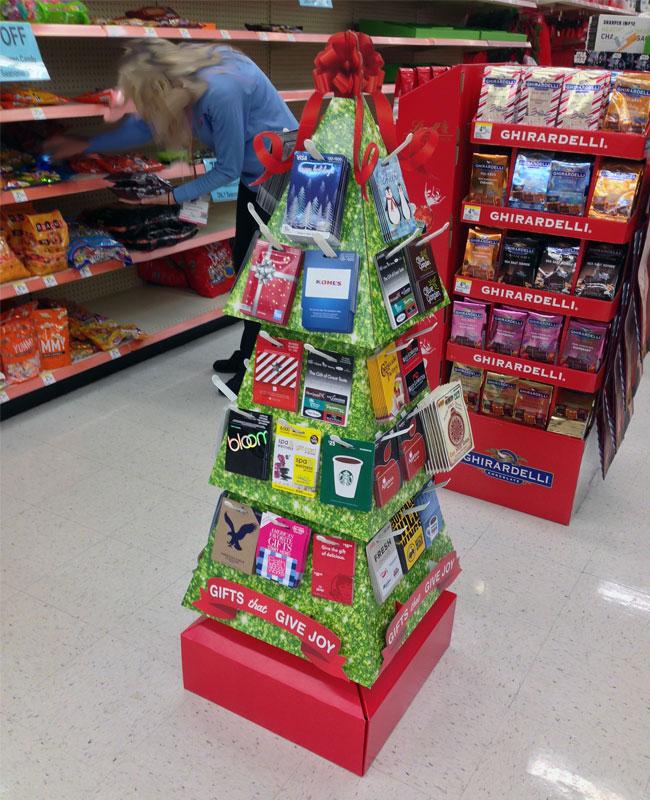 Give Joy Holiday Gift Card Tree Display