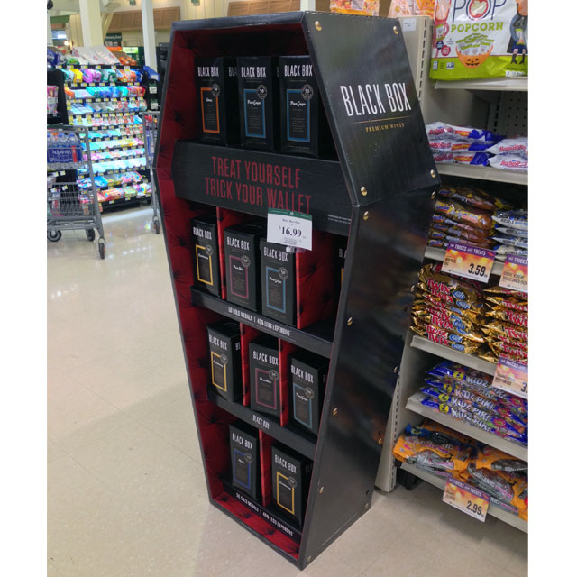 Black Box Wine Coffin Display